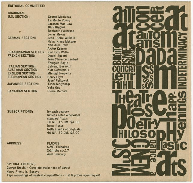 Fluxus was founded as an international publishing company. Games, printed materials, and other multiples by various artists were united by George Maciunas's unique design sensibility and brilliant typography. These qualities are visible here in this page from Maciunas's ambitious 1962 prospectus, which lays out his grand plans for Fluxus. Silverman Fluxus Archives, V.F.B.