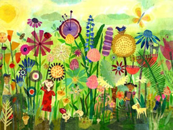 Great mural idea for a kid's garden/play area... I can hardly wait to paint my own version on our garden shed!