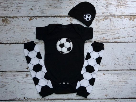 Choose colors, SOCCER bodysuit, beanie and leg warmers, t-shirt, hat, baby set, shower gift, sports, infant, boy, one piece sie, photo prop on Etsy, $32.00