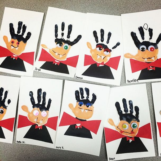 This cracks me up! Handprint vampires! Paint and constructiono paper. Wiggle eyes optional!