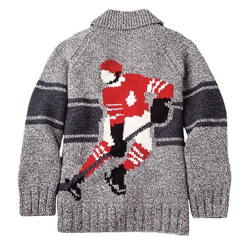 Nothing says Canada more than the maple leaf and hockey. A Mary Maxim/Roots collaboration. Kit to knit includes Mary Maxim Northland chunky weight yarn  and pattern. Zipper sold separately below.