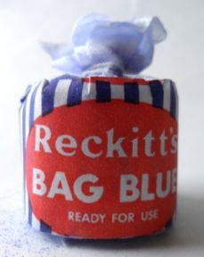 Vintage Washing Laundry Reckitt's Bag Blue Reckitt & Coleman Hull Dolly Bag 1950s NOS DollyBlue £6 #FollowVintage as used in the final rinse when washing with dolly tubs otherwise the soap turned the white linens/cottons yellow, varying names over the years including Bag Blue, Paris Blue, Crown Blue, Laundry Blue or Dolly Bags. Can also be used in the treatment of stings, spiritual ceremonies and for the preparation of horses and dogs for shows (white ones of course!).
