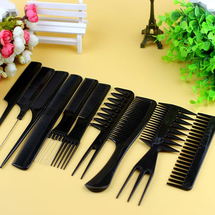 Hair Care Comb Anti Static Coarse Fine Toothed Tail Teasing Waves Pick Combs Set of 10