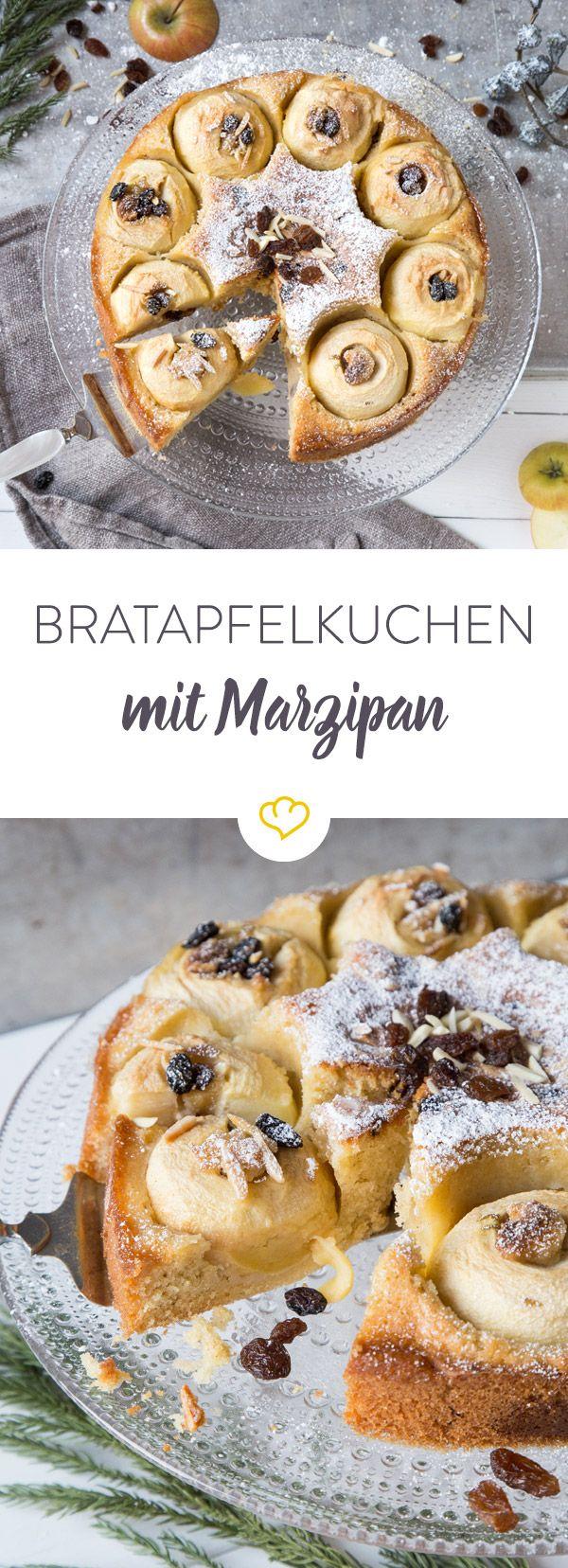 Süße Adventszeit: Wir verbacken klassische Bratäpfel mit Marzipanfüllung in warmem Kuchenteig und lassen Puderzucker leise rieseln.