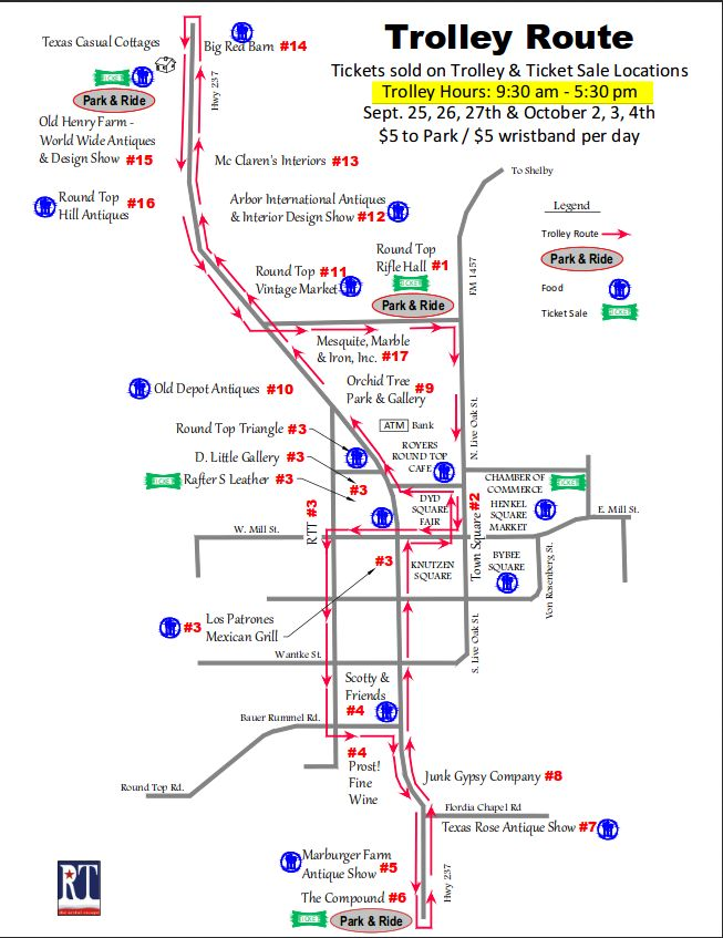 Texas antiques week Trolley-Route