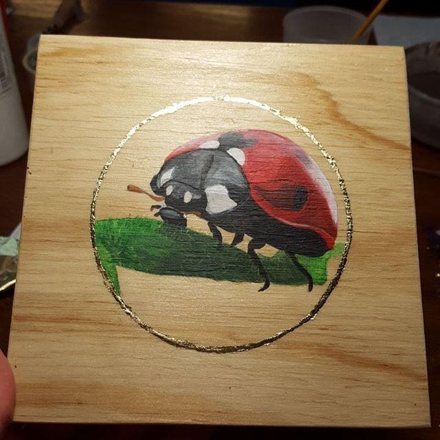The Lady Bug is done! 😀  #art #inspiration #plywood #drawing #painting #wingsandwildthings #acrylic #oil #ladybug #goldleaf