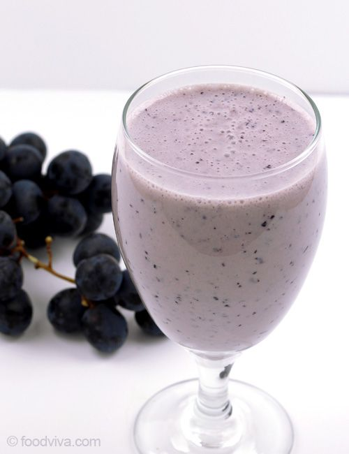 When sweet and juice grapes are combined with banana, yogurt, milk and little bit of ice, a delicious banana grape smoothie is born. This recipe is as simple as that.