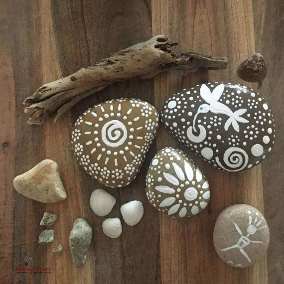 Painted Rock Rock Art Natural Home Decor by etherealandearth