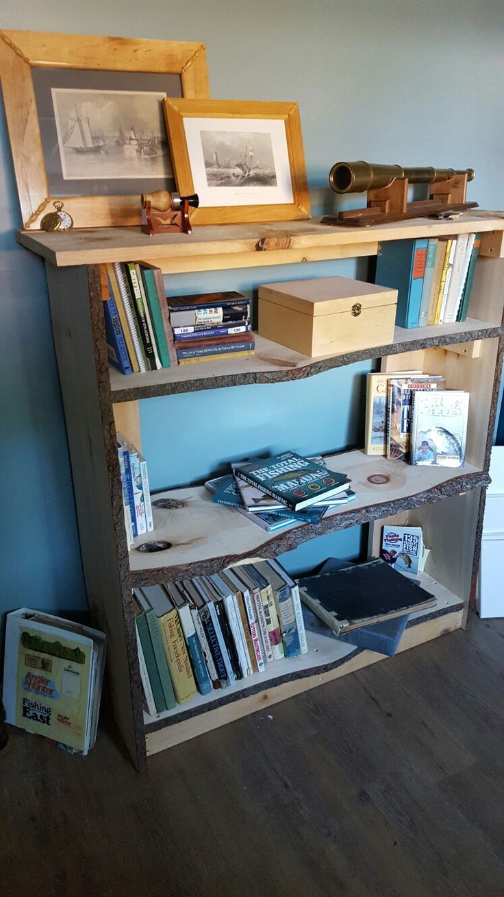 live edge bookcase