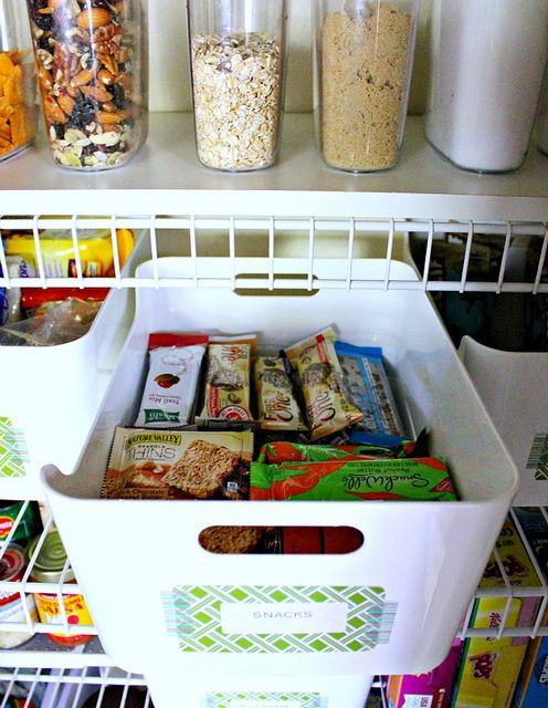 Pantry Must: A snack bin, saves lots of room. Repinned by Suzanna Kaye #Orlando, Florida Home Organizer. More tips and products at: www.aspacethatworks.com #organize