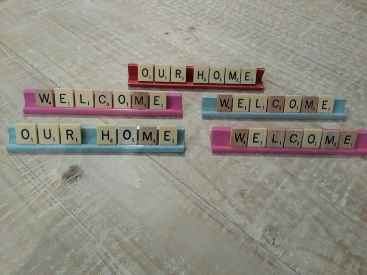 Scrabble signs. You can customise the greeting and the colour.