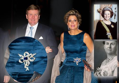 The Diamond and Sapphire Bow Brooch is part of Queen Emma's Sapphire Parure that originally belonged to Princess Amalia (born Duchess of Saschsen Weimar-Eisenach) and wife of Prince Hendrik, brother of King Willem II, who interited them from his mother Queen Anna.  The jewels eventually made their way back to the main Dutch line.  Photo:  Main-King Willem-Alexander and Queen Maxima with inset of Queen Beatrix and Queen Wilhelmina