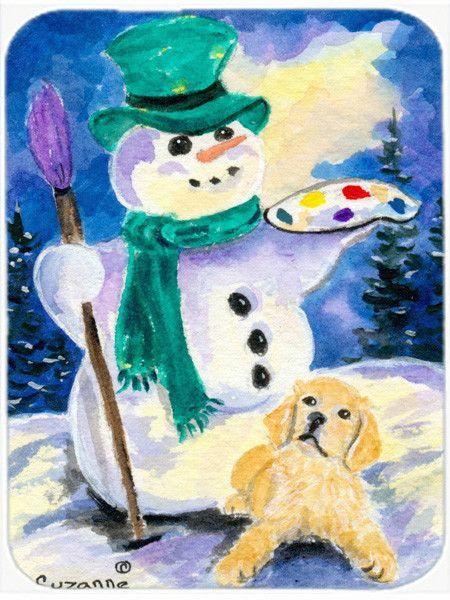 Snowman with Golden Retriever Glass Cutting Board