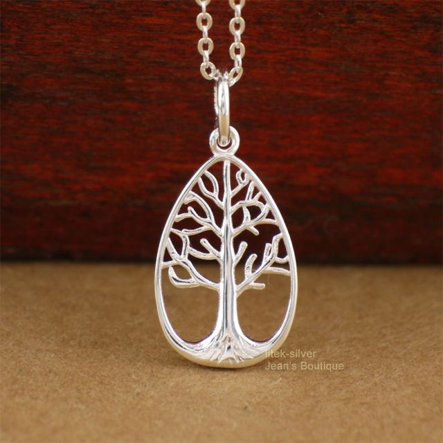 """925 Sterling Silver Tree of Life Drop Shape Pendant 16"""" Chain Necklace A2660"""