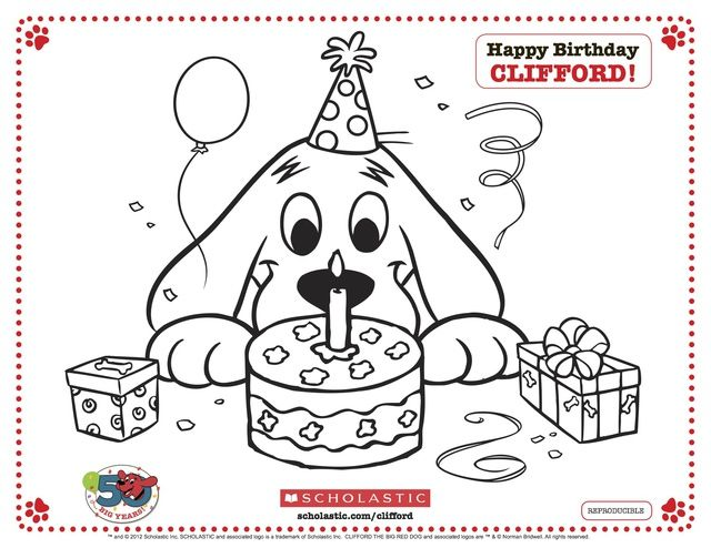 Free Clifford the Big Red Dog Coloring Pages: Clifford the Big Red Dog and His Birthday Cake!