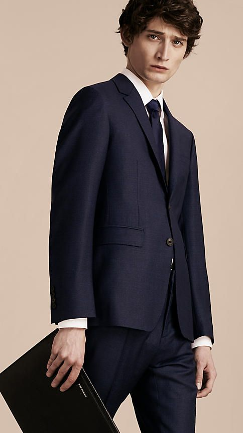 Navy intenso Abito Travel Tailoring aderente a quadri in lana - Immagine 2