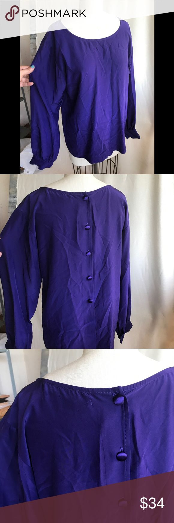 Graham & Spencer new 100% silk purple blues S Very minimalistic and classy silk blouse by Graham & Spencer. Nice detail is contrast satin buttons at the back Velvet by Graham & Spencer Tops Blouses