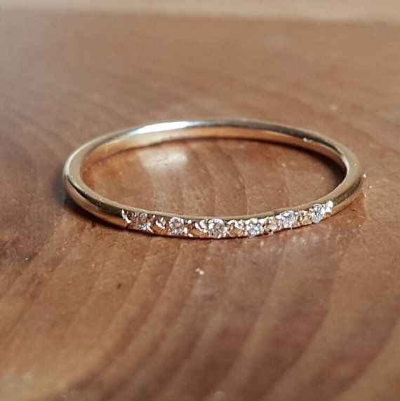 14K Gold Pave Diamond Ring Womens Gift Wedding Bands Wedding Band Thin Diamond Stacking Rings Stackable Rings Womens Wedding Engagement Ring