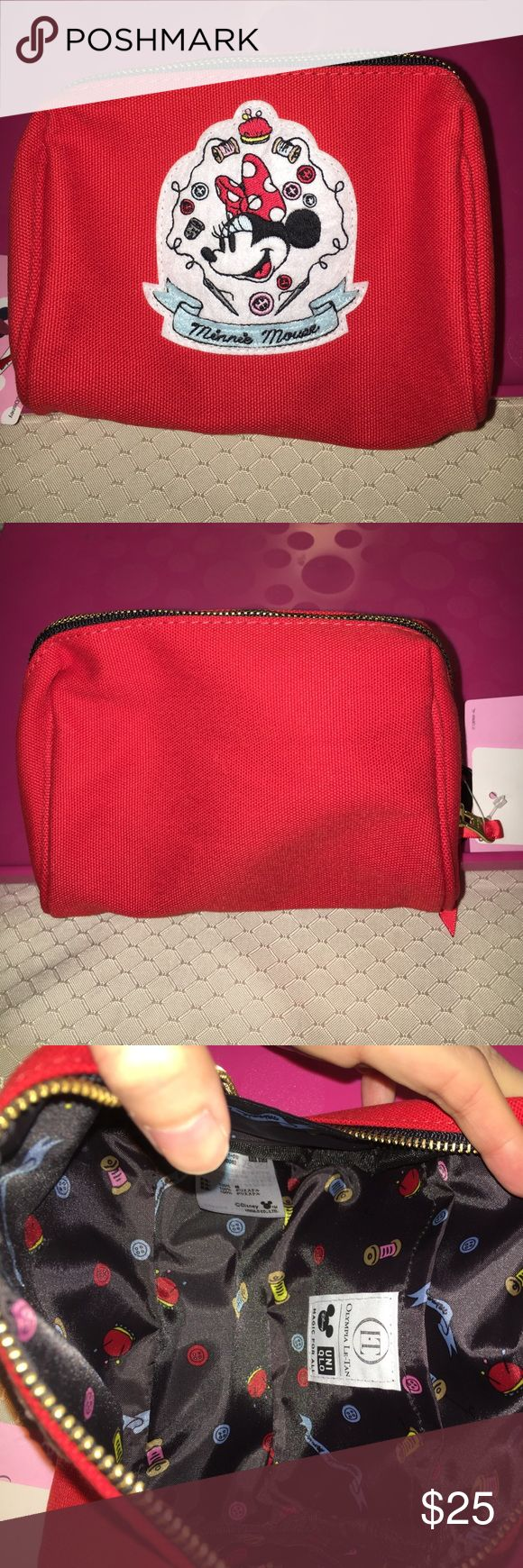 🍡🍄*Rare* Uniqlo Minnie Mouse makeup bag Purchased in Japan. Brand new with tag. 100% polyester. H10cm, W14.5cm, D8.5cm Uniqlo Bags Cosmetic Bags & Cases