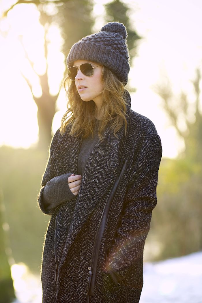 Zara pom pom hat, Gina Tricot coat, cashmere men's sweater and Ray-Ban sunglasses.