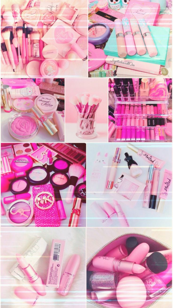 Pink makeup wallpaper, background, cosmetics, iPhone, android, hd, pretty, beautiful