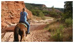 Old West Stables in Palo Duro Canyon State Park. 1 Hour Guided Ride, Minimum Age: 6 years, Maximum Weight: 250lbs, Reservations (by telephone) are Required, $35. Call 806-488-2180 for reservations.