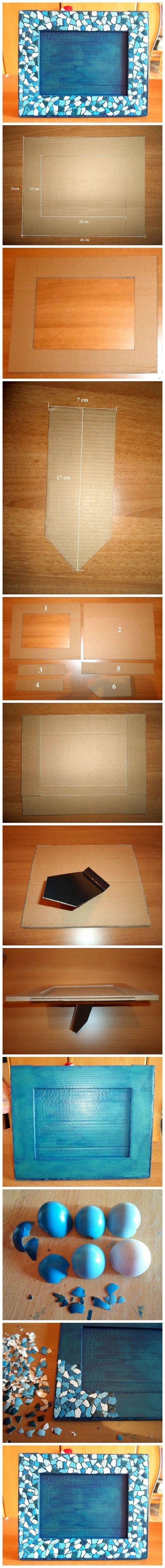 #DIY Marco de fotos   con cartón y cascarás de huevo teñidas