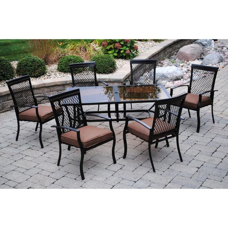 Sun casual geneva 7 piece dining set dining sets chairs and plush - Plush dining room chairs ...