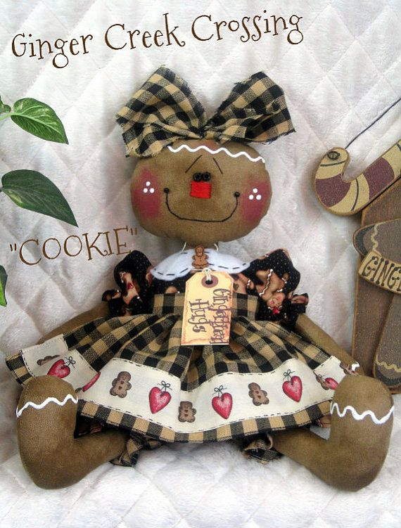 Primitive NEW Raggedy Gingerbread Doll by GingerCreekCrossing, $38.95