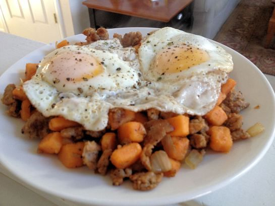 Sausage and Sweet Potato Hash....i loved it and the kids ate it up too ...