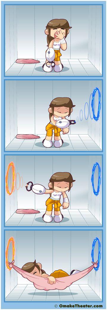 Useful portal gun is useful! Awesome 4 panel comic (yonkoma/4-koma) strip :)