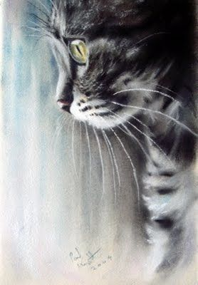 Pastel Paintings by Paul Knight. Cats ~