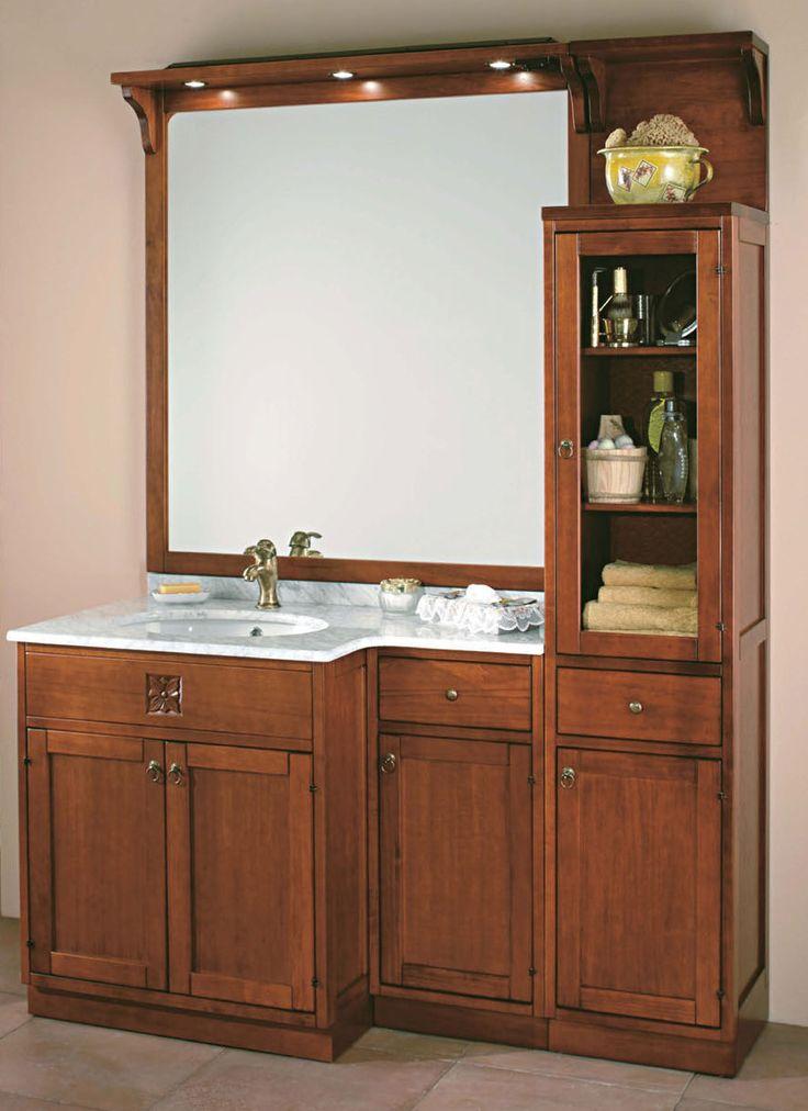 """Maße:   146,5 x 58 cm / h= 195 cm Farbe:   Walnuss / andere Farben erhältlich  Ein großzügiger Waschtisch aus der Badmöbelkollektion """"Ricordi"""", bestens geeignet für alle, die etwas mehr Platz bei Ihrer morgendlichen Toilette zur Verfügung haben möchten.  Der Waschtisch kommt mit einem großen Spiegel mit Spotlights, einem Top aus weißem Carrara-Marmor, einer Seitenvitrine mit viel Platz für Ihre Accessoires und einem kleinen Einbauschränkchen für Ihre Badetücher."""