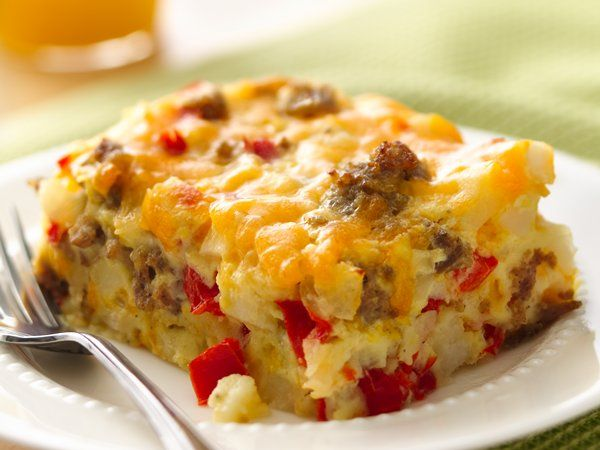 Impossibly Easy Breakfast Bake - 2 Zone Blocks. To cut fat way down, drain and rinse sausage and use half the cheese.