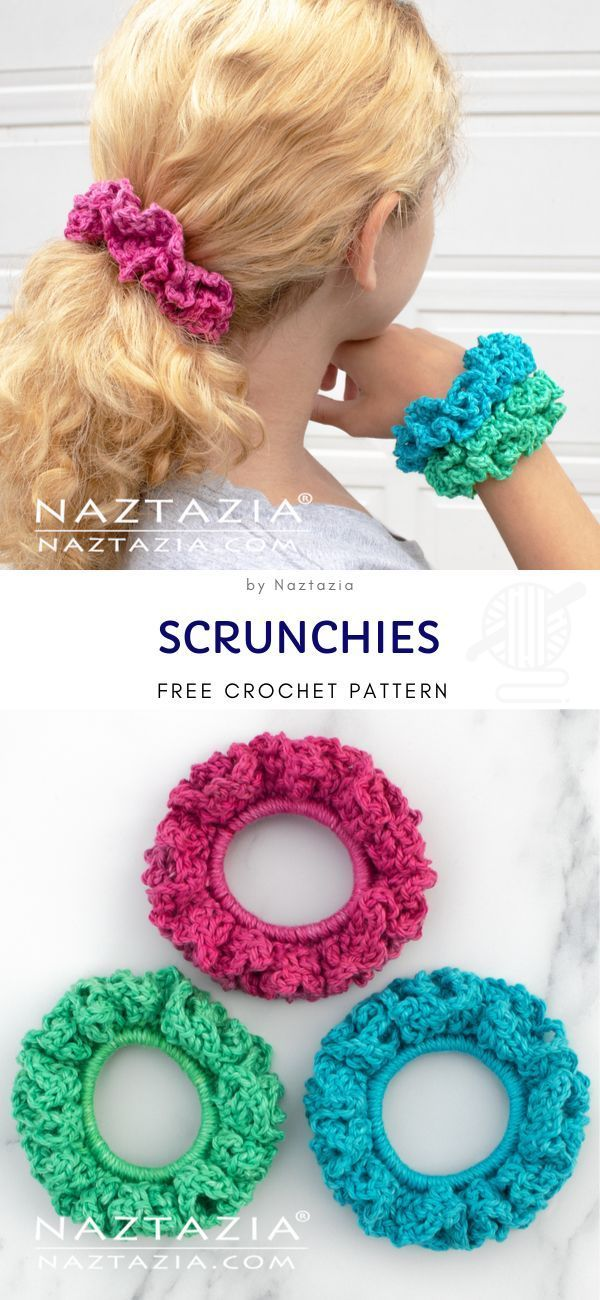 Scrunchies Free Crochet Pattern Colorful scrunchie…