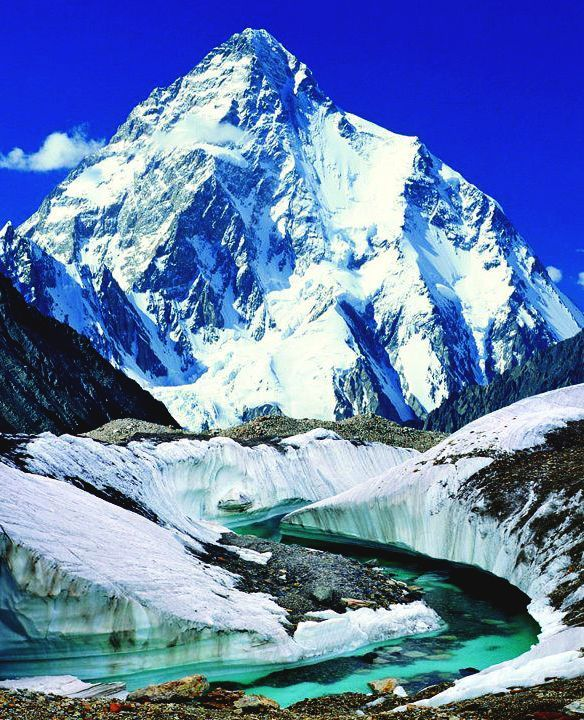 K2 is the second highest mountain on earth. Located in Northern Pakistan, K2 is the highest point of the Karakoram Range and is known as the Savage Mountain due to the extreme difficulty of ascent and the second-highest fatality rate among all the eight thousanders. For every four people who have reached the summit, one has died trying.