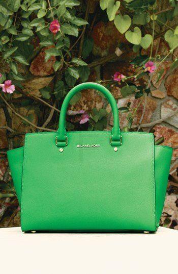 Michael Kors Large Green Saffiano Leather Satchel