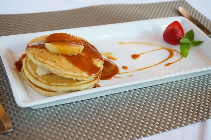 Pancakes with caramelized Apples and Salty Caramel !  Enjoy your delicious breakfast at your private villa...   E : info@thegrovebalivillas.com