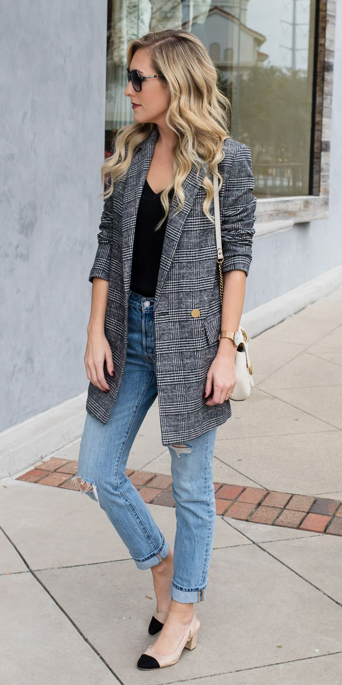 6554db84c0efd The biggest trend of Fall 2017 is the checked blazer. Pair it with a  feminine
