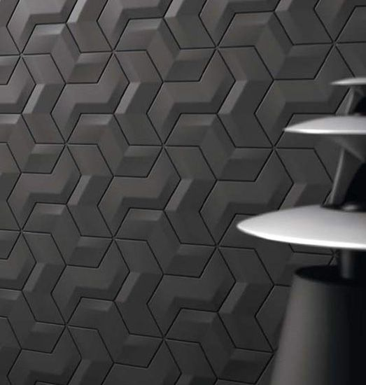 black mosaic tiles for kitchen wall