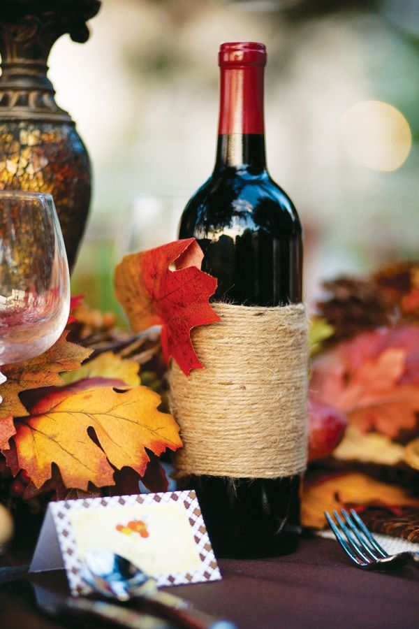 Thanksgiving - Twine Wrapped Wine Bottles