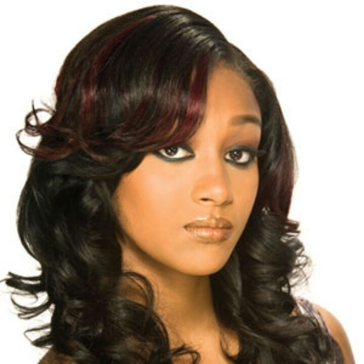 Burgundy Highlights Hair Relaxed Weaved Wigs Black