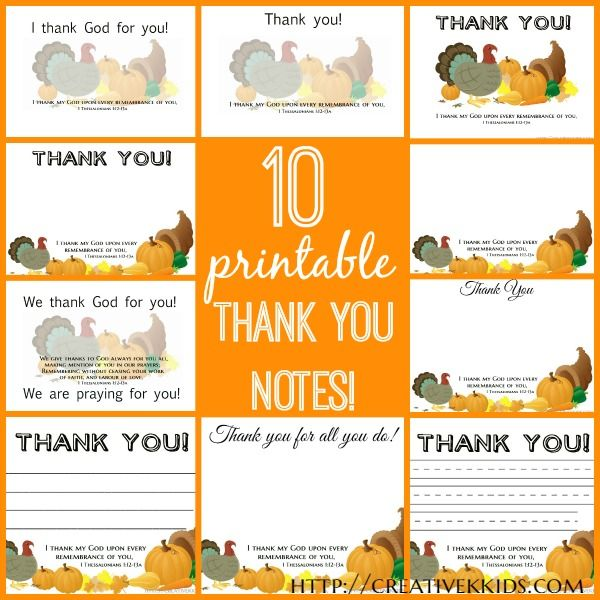 thankful thoughts  printable thank you notes