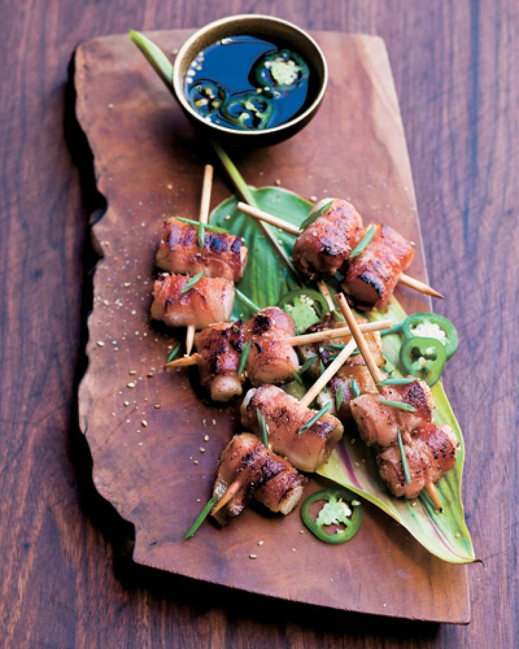 Bacon-Wrapped Rice Cakes With A Jalapeno Ponzu