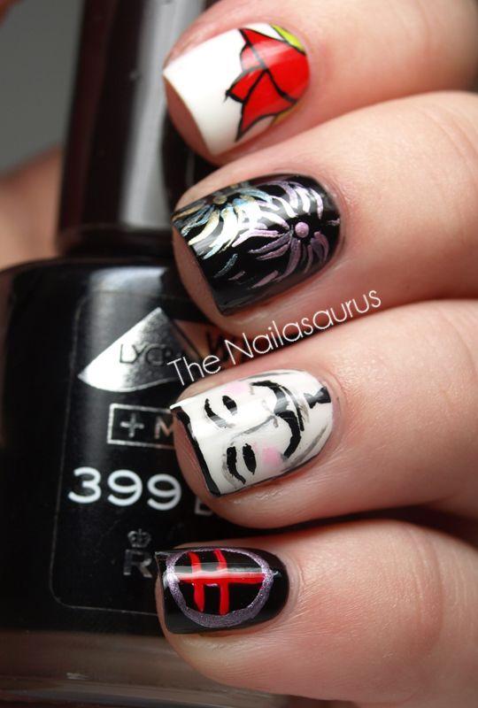V.............................no flippin way!!!!: Awesome Movie, Hair Beautiful, Nails Nails, Artists Nails, Nails Art, Vendetta Nails, Guys Fawk Masks, Favorite Movie, Fingers Nails