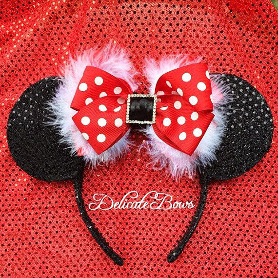 Red and black ears minnie mouse ears mickey mouse by delicatebows1