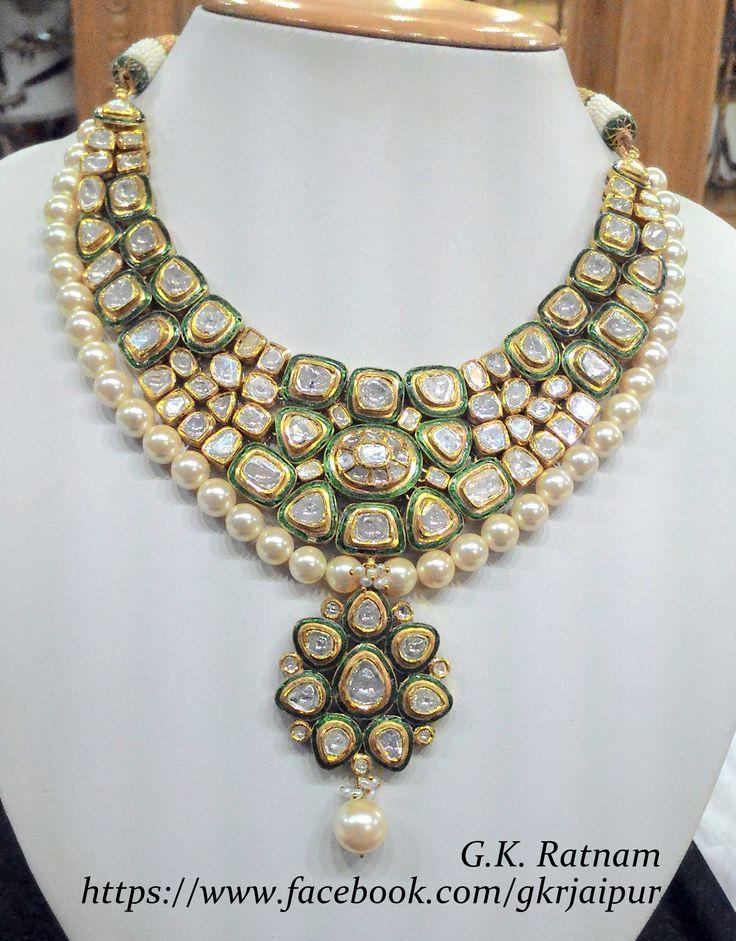 Green meenakari diamond polki necklace with double-coated pearls | Vilandi Jewelry | Diamond polki jewelry | Bridal sets | Traditional Indian Jewelry | Wedding Jewelry