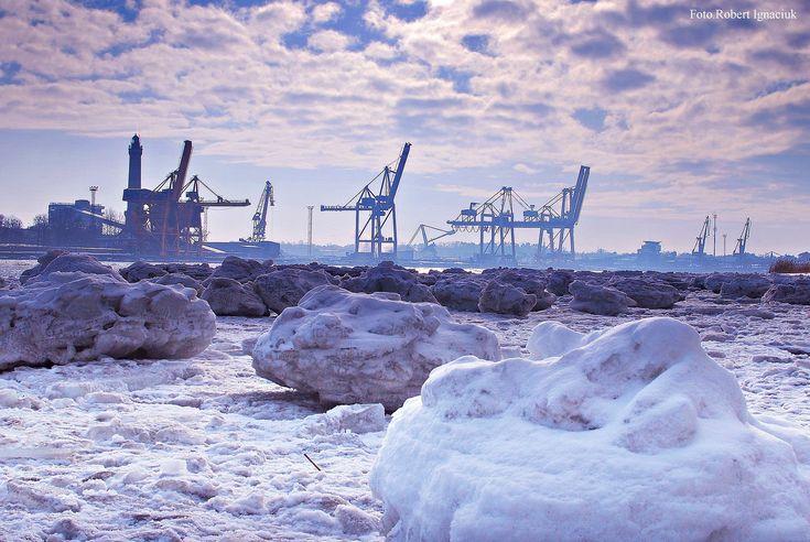 Zimowe widoki na plaży   Świnoujście w sieci