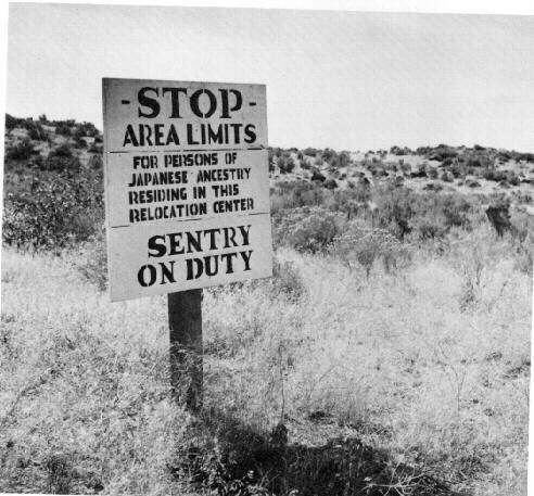 "Charles Mace, WRA. ""Newell, Calif., Sept. 28, 1943"" One of the many boundary signs posted around the Tule Lake Center."