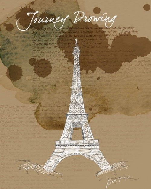 Hand Painted Eiffel Tower Psd Layered Material » Backgrounds Photoshop | King Of PSD